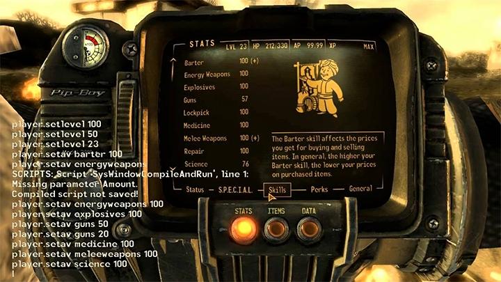 Все читы коды для Fallout: New Vegas