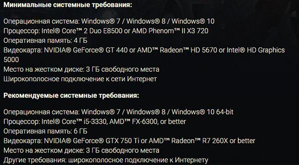 Системные требования Crossout на PC