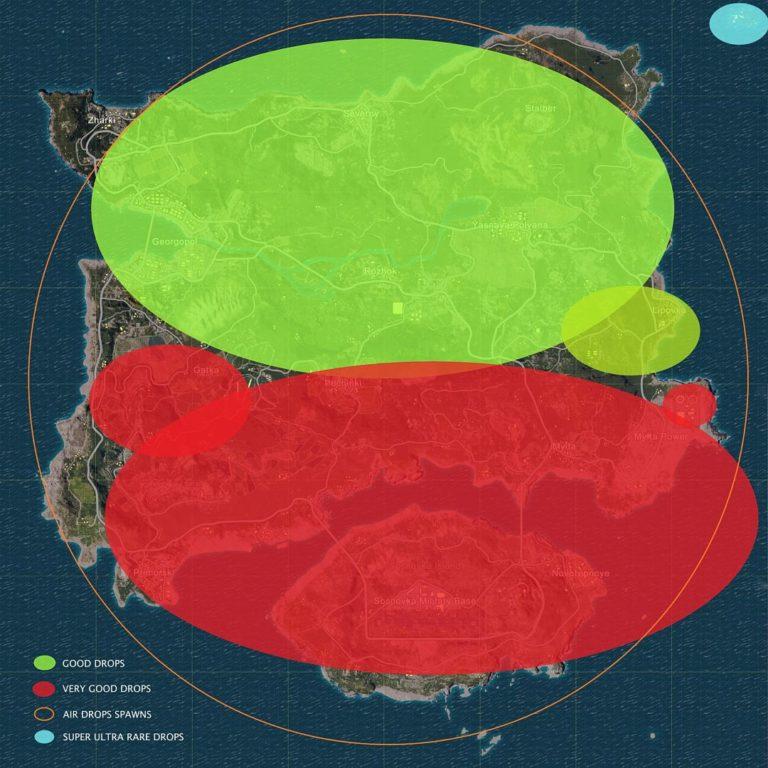 Карта лута и бункеров в Playerunknown's Battlegrounds