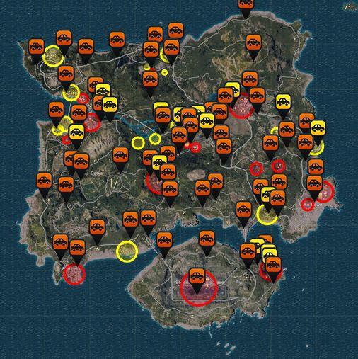 Карта спавна машин в Playerunknown's Battlegrounds