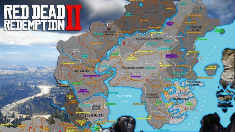 Карта мира в Red Dead Redemption 2 с обозначениями