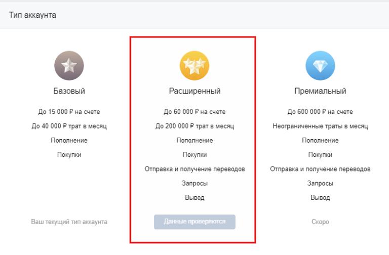 Как настроить расширенный аккаунт в VK Pay